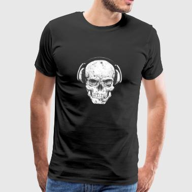 DJ skull with headphones - Men's Premium T-Shirt
