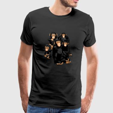 Five Cute Monkey's T-Shirt - Funny Little Ape - Koszulka męska Premium