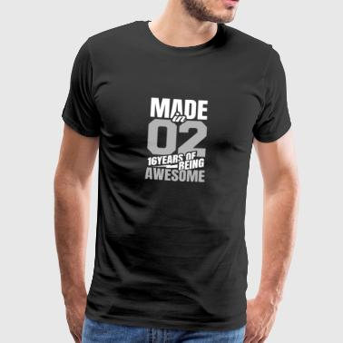 Made In 02 16 Years Of Being Awesome Tee Shirt Gift - Maglietta Premium da uomo