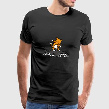 Cat Riding A Shark Funny Cartoon Surfing Graphic - Herre premium T-shirt