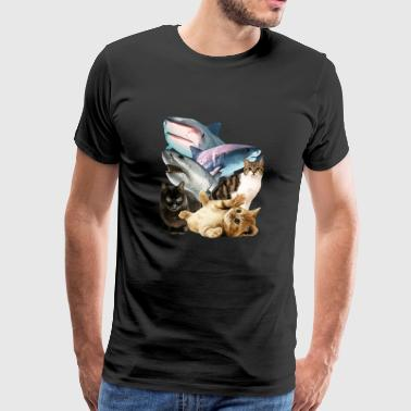 T-shirt z wizerunkami Cats And Sharks - Cool Graphic - Koszulka męska Premium