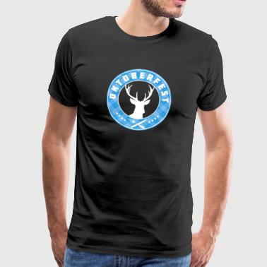 Oktoberfest antler folk deer light blue plaid - Men's Premium T-Shirt