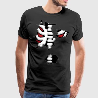 Skeleton Skeleton brystet ribbeina Horror Costume - Premium T-skjorte for menn