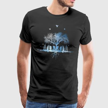 Sky nature city tree skyscraper bird roots - Men's Premium T-Shirt