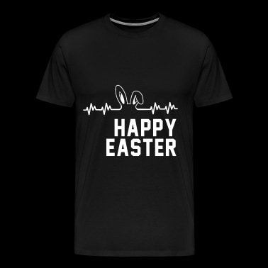 Happy easter bunny floppy ears heartbeat gift - Men's Premium T-Shirt