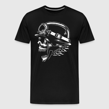 Biker motorcyclist helmet with skull - Men's Premium T-Shirt