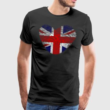 DNA fingeravtryck hjärta Great Britain GB - Premium-T-shirt herr