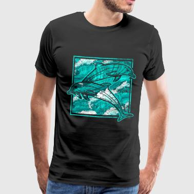 Dolphin whale sea creatures sea beach swimming - Men's Premium T-Shirt