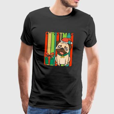 Retro Vintage Christmas Pug Puppy.Dog Lover Gifts - Men's Premium T-Shirt