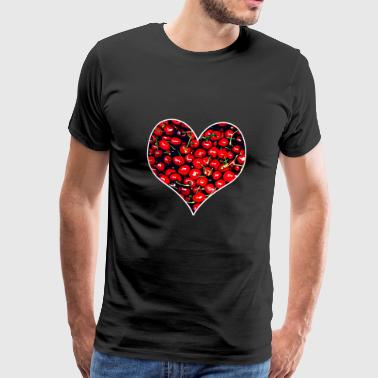 Cherry Heart Red Love Valentinsdag gave - Herre premium T-shirt