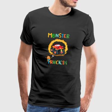 Monster Truck Orange Monster Ring of Fire Design - Mannen Premium T-shirt
