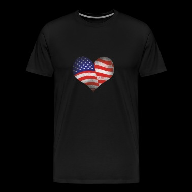 USA Flag Heart - Men's Premium T-Shirt