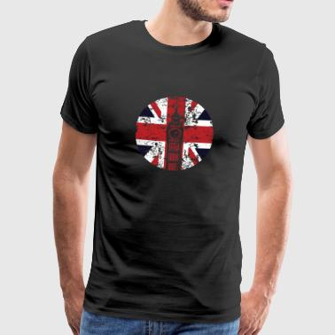 Union Jack Big Ben Westminster Palace Distressed - Men's Premium T-Shirt