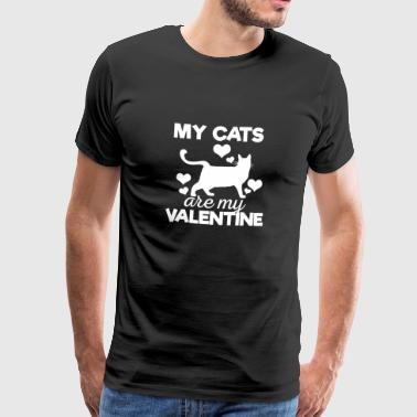 Cute My Cats are My Valentine T-Shirt - Men's Premium T-Shirt