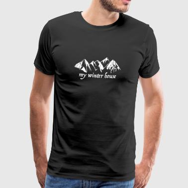 Skiing, Alps, mountains, winter - Men's Premium T-Shirt