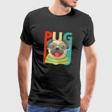 Vintage Retro Pug Dog Puppy. Year of the Dog Gifts - Men's Premium T-Shirt