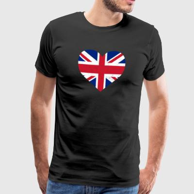 UK Flag Shirt Heart - britiske menn - Premium T-skjorte for menn