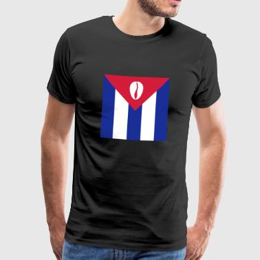 Cuban flag with orisha shell - white / white - Men's Premium T-Shirt