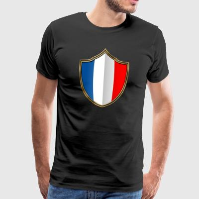 France flag crest Gold 016 - Premium T-skjorte for menn