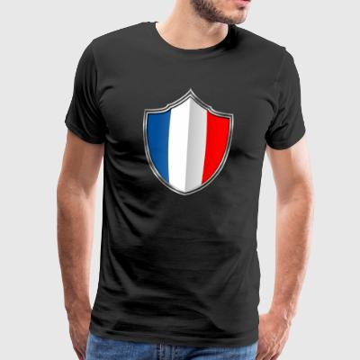 France flag emblem sølv 015 - Premium T-skjorte for menn