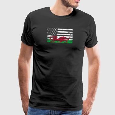 Welsh American Flag - USA Wales Shirt - Men's Premium T-Shirt