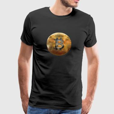 Bitcoin mynt Gold Chain Block - Premium T-skjorte for menn