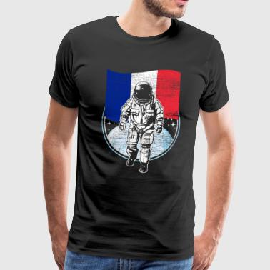 France flag in space Astronaut moon - Men's Premium T-Shirt