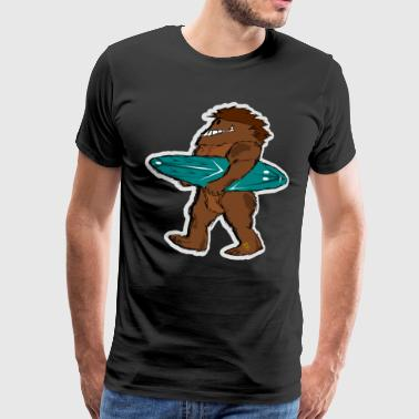 Bigfoot Sasquatch Surfboard Surfer Comic - Men's Premium T-Shirt