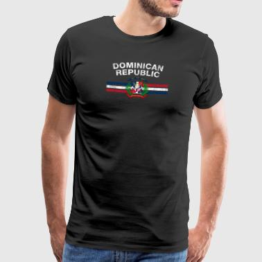 Drapeau dominicain T-shirt - Dominicaine Badges & Dominique - T-shirt Premium Homme