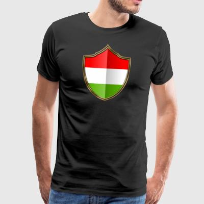 Hungary flag coat of arms gold 016 - Men's Premium T-Shirt