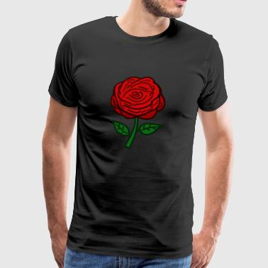 rød Rose - Premium T-skjorte for menn