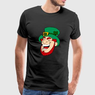 Leprechaun with green cylinder laughs. gift idea - Men's Premium T-Shirt