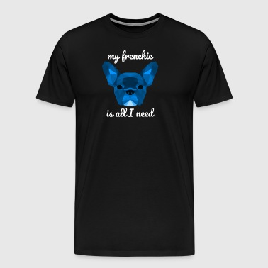 Low Poly Frenchie blue - Men's Premium T-Shirt