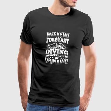 Funny Diving Diver Duik shirt Forecast - Mannen Premium T-shirt