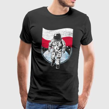 Poland flag in space Astronaut moon landing - Men's Premium T-Shirt