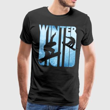 Vintage Winter Holiday Sports. Snowboarding Gifts. - Men's Premium T-Shirt