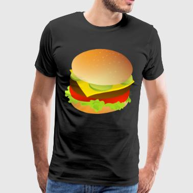 Cheeseburger, Hamburger gaveidé - Herre premium T-shirt