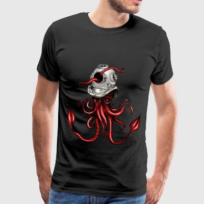 Squid with Diving Helmet - Men's Premium T-Shirt