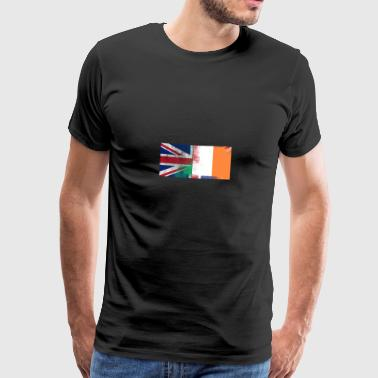 British Irish Half Ireland Half UK Flag - Men's Premium T-Shirt