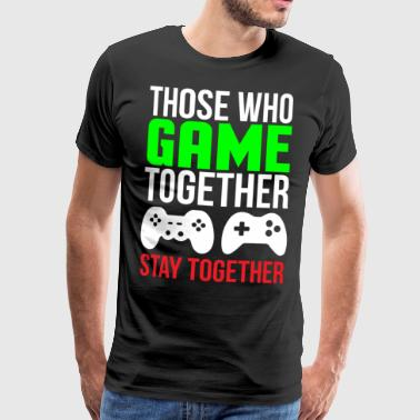 Game Together Cute Gaming Couple T-shirt - Men's Premium T-Shirt