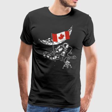 Canada conquers the space astronaut flag - Men's Premium T-Shirt