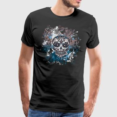 Skull Mexican Sugar Skull Flowers Flowers - Men's Premium T-Shirt