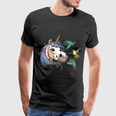 Unicorn and hummingbirds white liseret - Men's Premium T-Shirt