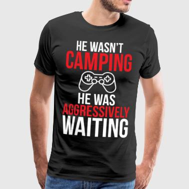 Video Game Camping Funny Gamer T-skjorte - Premium T-skjorte for menn