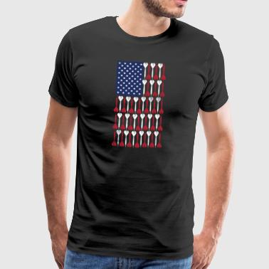 Vintage Flag> US Flag Made of Darts - Men's Premium T-Shirt