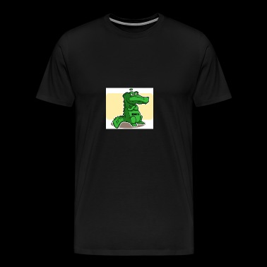 Green alligator with shears hungry - Men's Premium T-Shirt