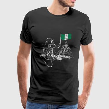 Nigeria Flag on the Moon Gift Astronaut - Men's Premium T-Shirt