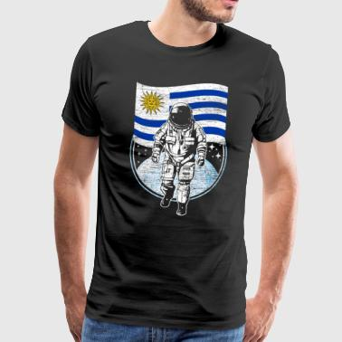 Uruguay flag in space Astronaut moon landing - Men's Premium T-Shirt