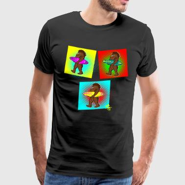 Bigfoot Sasquatch Surfbrett Surfer Pop-Art Edition - Männer Premium T-Shirt