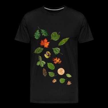 Leaves and fruits of german forest trees - Men's Premium T-Shirt